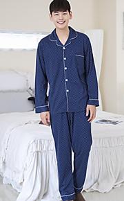Муж. Рубашечный воротник Костюм Пижамы Однотонный