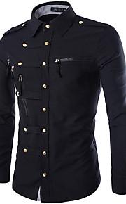 Chemise Homme, Couleur Pleine - Coton Basique Militaire Col Classique Mince Bleu marine L / Manches Longues / Printemps / Automne