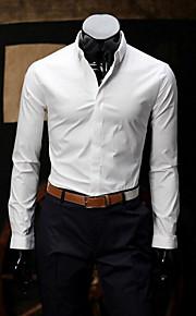 Муж. Офис Современный Рубашка Хлопок Деловые Однотонный / Длинный рукав / Весна / Осень