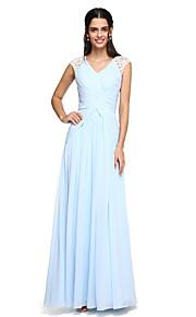 1059a045bfb Γραμμή Α Λαιμόκοψη V Μακρύ Σιφόν Φόρεμα Παρανύμφων με Που καλύπτει / Χιαστί  / Πιασίματα με