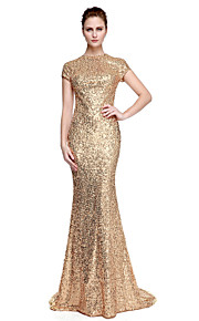 Sheath / Column Jewel Neck Sweep / Brush Train Sequined Formal Evening / Black Tie Gala Dress with Sequin by TS Couture®