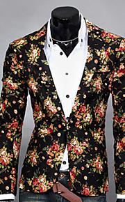 Hombre Diario Primavera / Otoño Regular Blazer, Floral Solapa de Pico Manga Larga Poliéster Estampado Blanco / Negro / Gris L / XL / XXL / Delgado