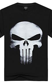 Hombre Activo / Punk & Gótico Deportes / Playa Estampado - Algodón Camiseta, Escote Redondo Cráneos Negro L / Manga Corta / Verano