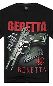 Hombre Activo / Punk & Gótico Deportes / Discoteca / Playa Estampado - Algodón Camiseta, Escote Redondo Letra Negro XL / Manga Corta