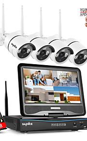 sannce® 2.4G 10.1 lcd 4-kanals HD 720p trådløst NVR 1500tvl i / udendørs IR cut ip kameraer med 1TB