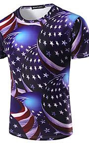 男性用 スポーツ - プリント Tシャツ ベーシック ラウンドネック 幾何学模様 コットン / 半袖