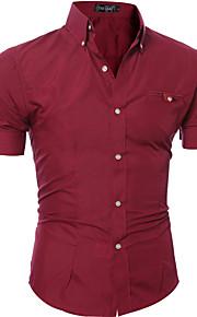 رجالي قطن قميص ياقة مع زر سفلي لون سادة أرجواني L / كم قصير / الربيع / الخريف