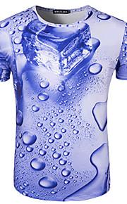 男性用 スポーツ - プリント Tシャツ ベーシック ラウンドネック スリム 幾何学模様 コットン / 半袖