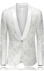 Men's Party / Daily / Going out Street chic / Sophisticated Spring / Fall / Winter Plus Size Regular Blazer, Floral V Neck Long Sleeve Cotton / Polyester Jacquard White XXL / XXXL / 4XL / Slim