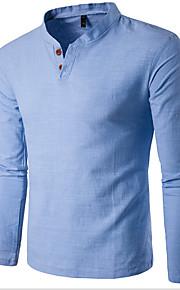 男性用 スポーツ Tシャツ ベーシック スタンド スリム ソリッド コットン / 長袖