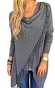 Women's Going out Street chic Plus Size Cotton T-shirt - Solid Colored Tassel