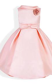 토들러 여아 리본 일상 / 학교 / 홀리데이 솔리드 프린트 민소매 면 드레스 블러슁 핑크