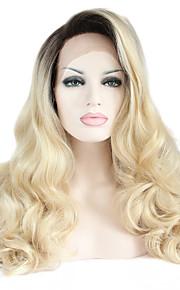 Syntetisk blonder foran parykker Naturlige bølger Varme resistent Side del Naturlig hårlinje Mørke røtter Ombre-hår Svart Dame Blonde