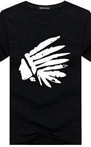 Hombre Básico Deportes Tallas Grandes Estampado - Algodón Camiseta, Escote Redondo Delgado Gráfico Blanco XXXL / Manga Corta / Verano