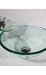 Moderno Tondo Materiale del dissipatore è Vetrotemperato Lavandino bagno