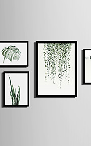 Innrammet Lerret Innrammet Sett Landskap Blomstret/Botanisk Veggkunst, PVC Materiale med ramme Hjem Dekor Rammekunst Stue Soverom Kjøkken