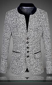 Bărbați Petrecere / Zilnic Vintage / Chinoiserie Primăvară / Toamnă Mărime Plus Size Regular Blazer Stand Manșon Lung Bumbac / Poliester Supradimensionat / Imprimeu Gri 4XL / XXXXXL / XXXXXXL / Zvelt