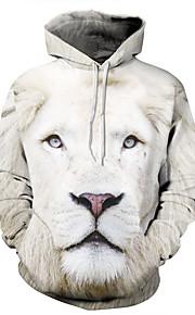 Ανδρικά Ενεργό Μεγάλα Μεγέθη Παντελόνι - Ζώο Λιοντάρι, Στάμπα / 3D Λευκό / Με Κουκούλα / Μακρυμάνικο / Χειμώνας