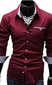 Chemise Grandes Tailles Homme, Couleur Pleine - Coton Basique Travail Business Col Classique Mince Blanc XL / Manches Longues / Printemps / Automne