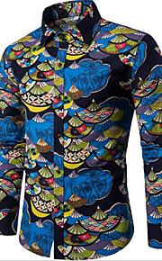 Hombre Vintage / Tejido Oriental Estampado - Algodón Camisa Geométrico Azul Piscina XXXL / Manga Larga