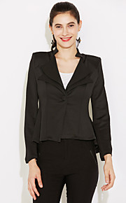 WeiMeiJia® Women's Ruffle Lapel Neck All Matching Solid Color Overcoat