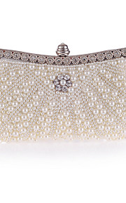 Women's Bags Polyester Evening Bag Crystal Detailing Pearl Detailing for Wedding Event/Party All Seasons Champagne White Black