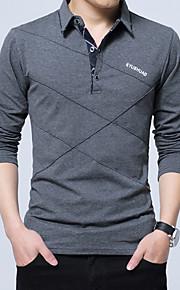 男性用 ワーク - ベーシック Polo 活発的 シャツカラー スリム ソリッド コットン / 長袖
