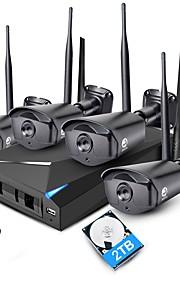 jooan® 4ch 1080p nvr trådløst cctv system 4stk 2mp ip kamera wifi vandtæt med 2tb hdd