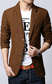 Men's Daily / Work Spring / Fall Regular Blazer, Solid Colored Notch Lapel Long Sleeve Cotton / Polyester Brown / Black / Khaki XL / XXL / XXXL / Business Casual / Slim