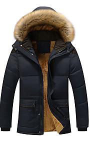 男性用 日常 ストリートファッション 冬 プラスサイズ ロング パッド入り, ソリッド フード付き 長袖 環境に優しい ポリエステル 特大の キャメル / ネイビーブルー / カーキ色 XXXL / 4XL / XXXXXL
