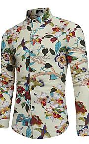 Erkek Pamuklu / Keten Klasik Yaka İnce - Gömlek Desen, Çiçekli Boho Parti Siyah XL / Uzun Kollu