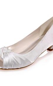 55 Dámské Satén Jaro   Léto Lodičky Svatební obuv Nízký tenký S otevřeným  palcem Modrá   Světle b96e3b6df2