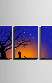 LED-kanvaskonst Landskap Tre paneler Vertikal Tryck väggdekor Hem-dekoration