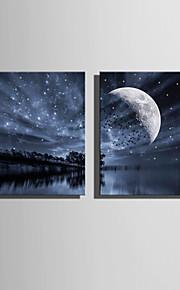 LED-kanvaskonst Landskap Två paneler Fyrkantig väggdekor Hem-dekoration