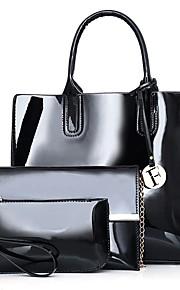 Women's Bags PU Bag Set 3 Pcs Purse Set Zipper for Office & Career Outdoor All Seasons Blue Black Red Purple
