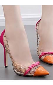 Women's Shoes PU Spring Fall Comfort Heels Stiletto Heel for Casual Black Orange Blue
