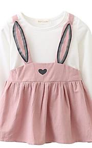 d3ae8defd0ed 39 Μωρό Κοριτσίστικα Απλός / Ενεργό Καθημερινά Μονόχρωμο Στάμπα Μακρυμάνικο  Βαμβάκι Φόρεμα Ανθισμένο Ροζ / Χαριτωμένο /