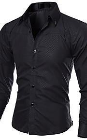 男性用 ワーク シャツ ビジネス / ストリートファッション スリム ソリッド / 長袖