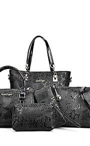 Women's Bags PU Bag Set 6 Pieces Purse Set Zipper Ruffles for Office & Career All Seasons White Black Red Brown