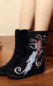 Women's Shoes Fabric Winter Fall Comfort Boots Flat Heel Round Toe Closed Toe Mid-Calf Boots for Casual Outdoor Black Red