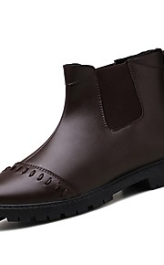 Men's Shoes Nappa Leather Spring Fall Comfort Boots for Outdoor Black Brown