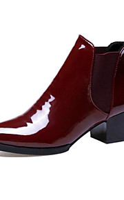 Women's Shoes Patent Leather Spring Fall Comfort Bootie Boots Chunky Heel for Casual Black Burgundy