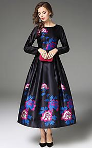 גיזרה גבוהה מקסי פרחוני - שמלה משוחרר בגדי ריקוד נשים