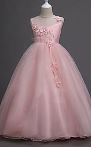 아동 여아 단 파티 플로럴 레이어드 / 자카드 민소매 면 / 폴리에스테르 드레스 블러슁 핑크