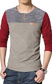 Retazos - Algodón Camiseta, Escote Redondo Bloques Rojo XXXL / Manga Larga
