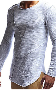 남성용 솔리드 라운드 넥 슬림 티셔츠, 베이직 / 스트리트 쉬크 스포츠 면 화이트 L / 긴 소매 / 긴