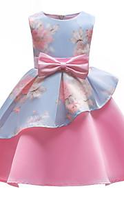Děti Dívčí Party Párty Květinový Mašle / Tisk Bez rukávů Bavlna / Polyester Šaty Světlá růžová