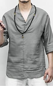 Ανδρικά T-shirt Κινεζικό στυλ - Λινό Μονόχρωμο Λαιμόκοψη V Λευκό XXXL / Καλοκαίρι