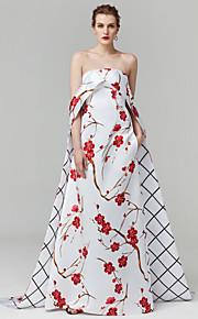 Fourreau / Colonne Sans Bretelles Traîne Brosse Satin Fête scolaire / Soirée Formel Robe avec Motif / Impression par TS Couture®