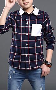 Çocuklar Genç Erkek Günlük Günlük Ekose Kontrol Çizgisi Kırk Yama Uzun Kollu Normal Suni İpek Gömlek Bej